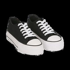 Baskets noir en toile, Chaussures, 152619385CANERO040, 002 preview