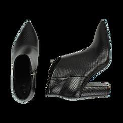 Ankle boots neri stampa vipera, tacco 9 cm , Primadonna, 164916101EVNERO039, 003 preview