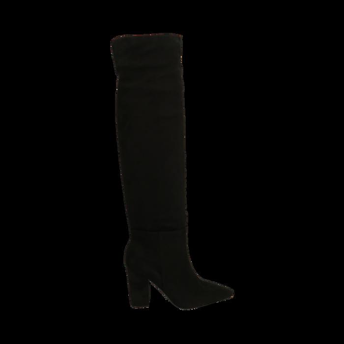 Stivali overknee neri in microfibra, tacco 9,50 cm , Primadonna, 164988612MFNERO035