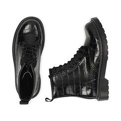 Botas militares en color negro con estampado de cocodrilo, Primadonna, 162801501CCNERO036, 003 preview