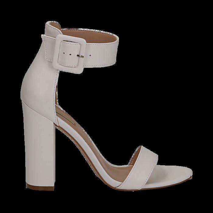 san francisco 4af28 a38f0 Sandali bianchi in eco-pelle, tacco colonna 10, 50 cm