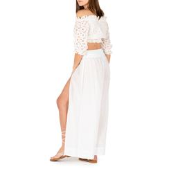 Pantaloni bianchi in tessuto paisley print, 150500269TSBIANUNI, 002a