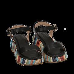 Sandali neri in eco-pelle, zeppa 4,50 cm , Primadonna, 154917199EPNERO035, 002a