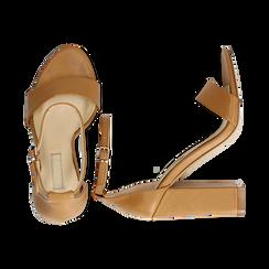 Sandali minimal cuoio in eco-pelle, tacco 10,5 cm , Sandali con tacco, 132133791EPCUOI035, 003 preview