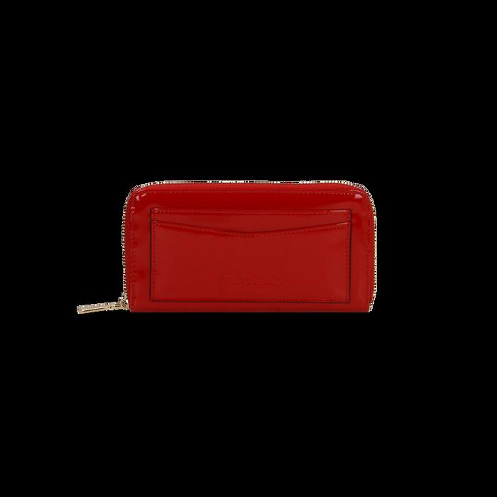 Portafoglio rosso in ecopelle vernice con 10 vani, Borse, 125709023VEROSSUNI