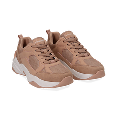 Dad shoes nude in microfibra, zeppa 4,50 cm, Sneakers, 142619462MFNUDE036, 002 preview