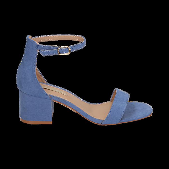 nuovi arrivi c9191 657d0 Sandali azzurri in microfibra, tacco 5,5 cm