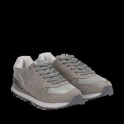 Sneakers grigie in microfibra , Scarpe, 132619078MFGRIG036, 002a