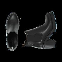 Chelsea boots neri, tacco 8 cm , PROMOZIONI, 160637851EPNERO040, 003 preview