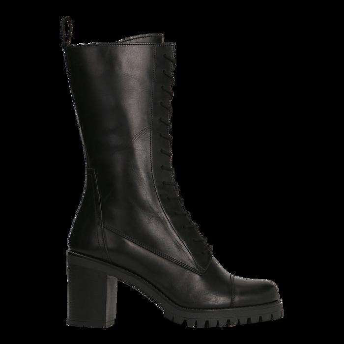 Anfibi neri in vera pelle con gambale alto, tacco 7,5 cm, Primadonna, 127723810PENERO035