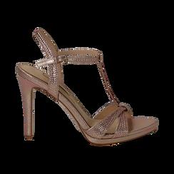 Sandalo rosa in laminato, tacco 10,50 cm,