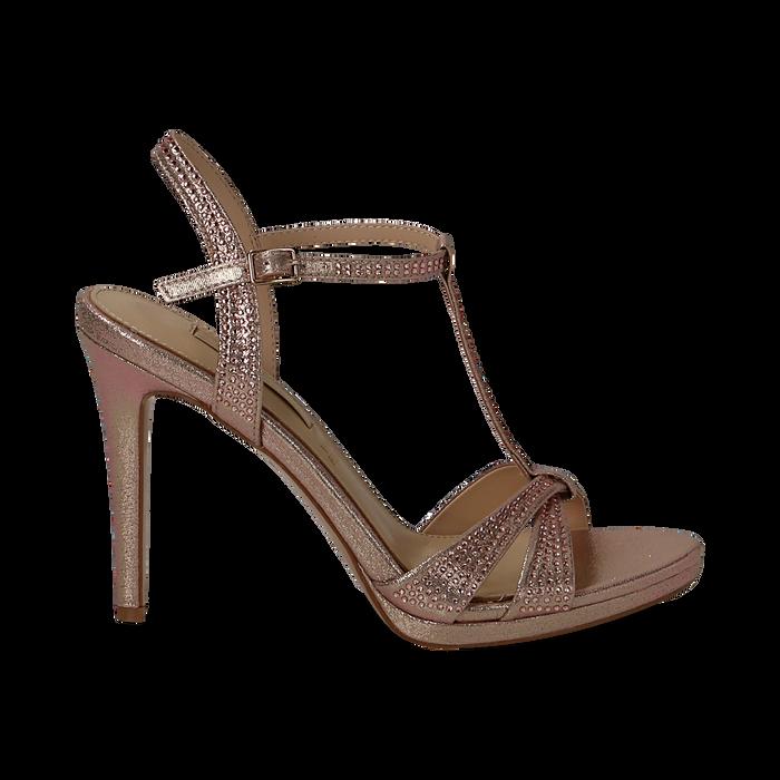 Sandalo rosa in laminato, tacco 10,50 cm, Sandali con tacco, 132127402LMROSA035