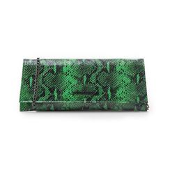 Pochette piatta verde in eco-pelle effetto snake, Borse, 145122509PTVERDUNI, 001 preview