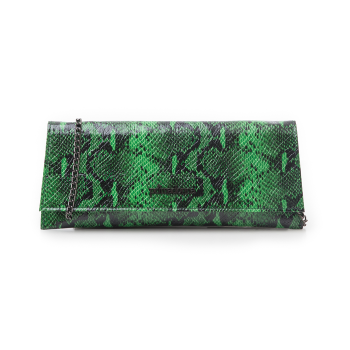 Pochette piatta verde in eco-pelle effetto snake, Borse, 145122509PTVERDUNI