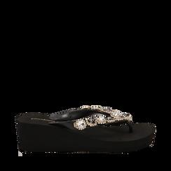 Zeppe platform infradito nere in pvc con strass, zeppa 5,50 cm, Primadonna, 113903022PVNERO041, 001a