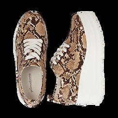 Sneakers beige in eco-pelle effetto snake print, zeppa 6 cm, Scarpe, 132008353PTBEIG036, 003 preview