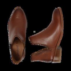 Bottines en cuir camel, talon de 3 cm, Chaussures, 159407601PECUOI037, 003 preview