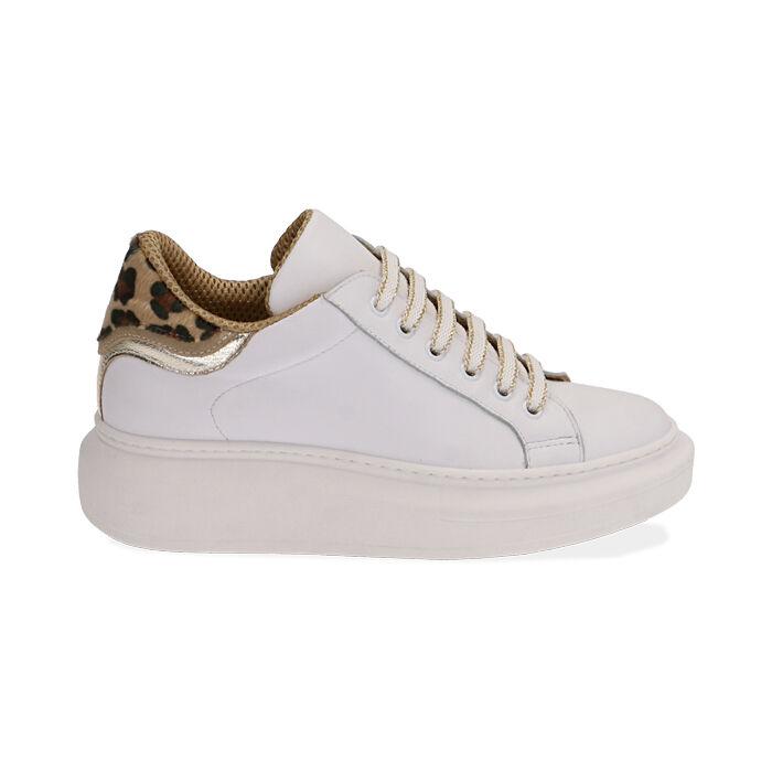 Sneakers blanco/marrón de piel, Primadonna, 17L600103PEMARR035