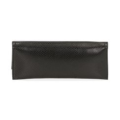 Pochette piatta nera in eco-pelle snake print, Primadonna, 145122510PTNEROUNI, 003 preview