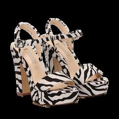 Sandali zebrati in microfibra con plateau, tacco 13 cm, Sandali con tacco, 138404164MFZEBR037, 002a