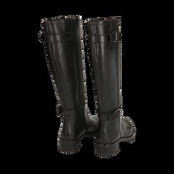 Stivali con fibbie neri in pelle, tacco 4 cm , Scarpe, 146262002PENERO035, 003 preview