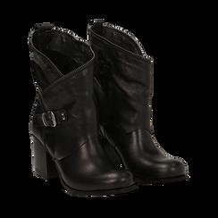 Ankle boots neri in vera pelle, tacco 9 , Scarpe, 135600421PENERO036, 002 preview