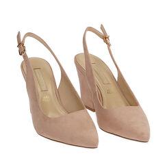 Slingback nude de microfibra, tacón 8,50 cm, Zapatos, 172183402MFNUDE035, 002a
