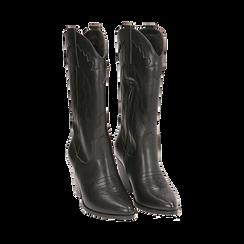 Santiags noirs, talon 8,5 cm, CHAUSSURES, 170581021EPNERO037, 002 preview