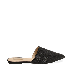 Slippers nere in microfibra con pietre, Primadonna, 154921861MPNERO036, 001a
