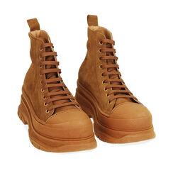 Sneakers cognac in camoscio, platform 5,5 cm , Primadonna, 18A504001CMCOGN035, 002a