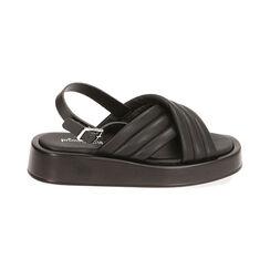 Sandalias negras, cuña 4 cm, Primadonna, 17A121336EPNERO035, 001 preview