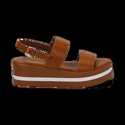 Sandali platform cuoio in eco-pelle, zeppa 5 cm , Primadonna, 132147512EPCUOI036, 001 preview