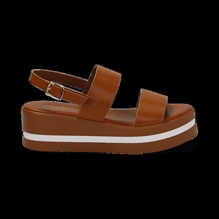 Sandali platform cuoio in eco-pelle, zeppa 5 cm , Primadonna, 132147512EPCUOI036