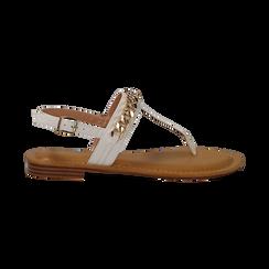 Sandali infradito bianchi in eco-pelle con catenella, Primadonna, 134988163EPBIAN, 001 preview