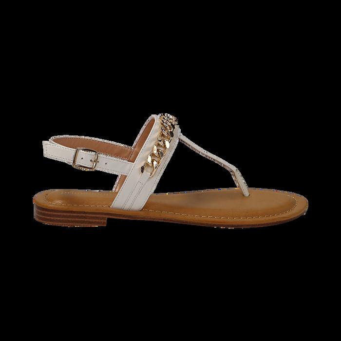 Sandali infradito bianchi in eco-pelle con catenella, Primadonna, 134988163EPBIAN