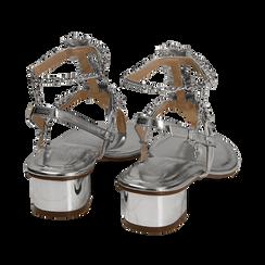 Sandali argento in eco-pelle laminata con pietre, tacco 3,5 cm, Primadonna, 154927101LMARGE036, 004 preview