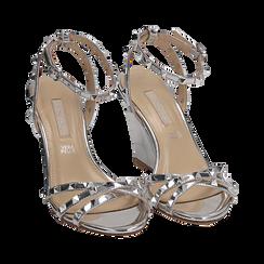 Sandali argento effetto specchio, zeppa 9 cm, Scarpe, 152154429SPARGE036, 002 preview