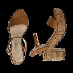Sandali cuoio in eco-pelle, tacco in sughero 9 cm, Primadonna, 138402256EPCUOI036, 003 preview