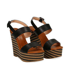 Sandali platform neri in eco-pelle, zeppa rigata 13 cm , Scarpe, 134986213EPNERO035, 002a