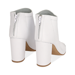 Botines open toe en vitello color blanco, tacón 9 cm, Zapatos, 15A217014VIBIAN035, 004 preview