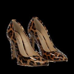 Décolleté leopard in vernice, tacco stiletto 11 cm, Scarpe, 13A407027VELEMA035, 002a