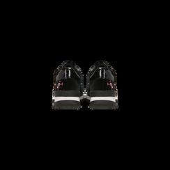 Sneakers nere con ricami floreali velluto, Scarpe, 121617734VLNERO, 003 preview