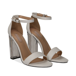 Sandali bianchi in eco-pelle, tacco plexi 10 cm , Scarpe, 132708221EPBIAN035, 002a
