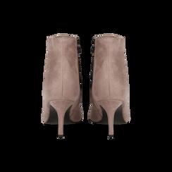 Tronchetti nude in vero camoscio, tacco midi 8 cm, Primadonna, 12D618502CMNUDE, 003 preview
