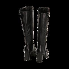 Stivali neri in pelle di vitello, tacco 8 cm , Stivali, 14A200748VINERO036, 003 preview