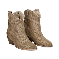 Stivali Texas traforati beige in vitello , Scarpe, 138900077VIBEIG036, 002 preview