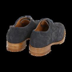 Derbies bleu en Nubuck, Chaussures, 159908418CMBLUE036, 004 preview
