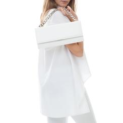 Pochette bianca in eco-pelle con maxi-catena, Borse, 133322173EPBIANUNI, 002a