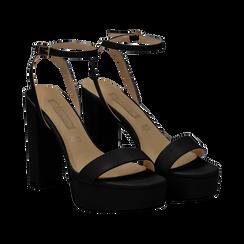 Sandali con pleateau neri in eco-pelle, tacco 12,50 cm, Scarpe, 132138091EPNERO036, 002 preview