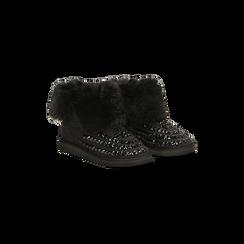 Scarponcini invernali neri con risvolto in eco-fur, Scarpe, 125001328MFNERO036, 002